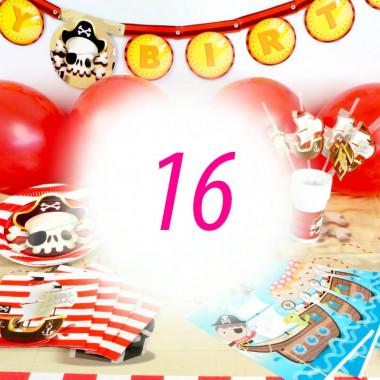 Pirat-partyset för 16 personer- utan tårta