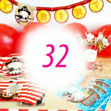 Pirat-partyset för 32 personer- utan tårta