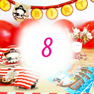 Pirat-partyset för 8 personer- utan tårta