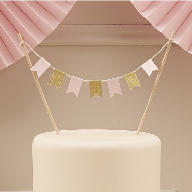 Cake Topper Guld Rosa