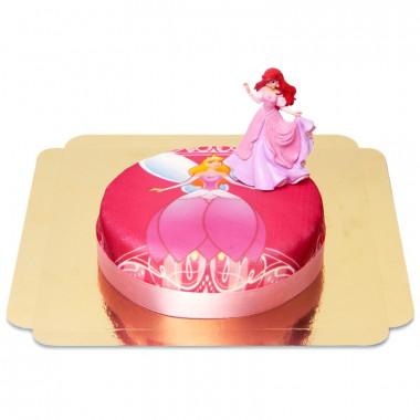 Disneyprinsessan Ariel på rosa tårta