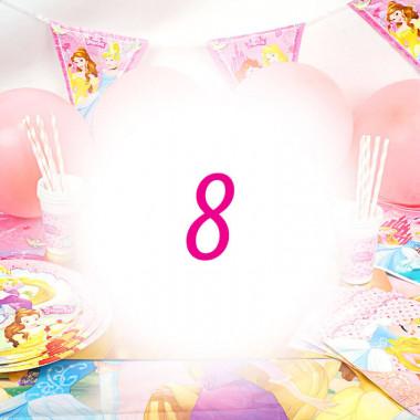 Partyset Prinsessa för 8 barn - Dekorationsset exkl. tårta
