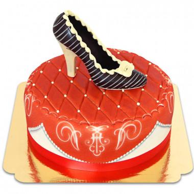 Röd deluxetårta med chokladsko