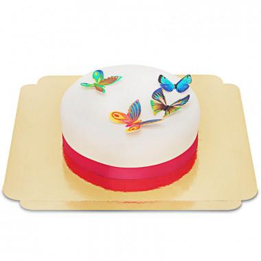 Vit tårta med sockeroblat fjärilar
