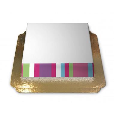 Fototårta med färglada ränder