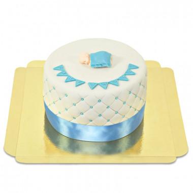 Blå babyshower tårta