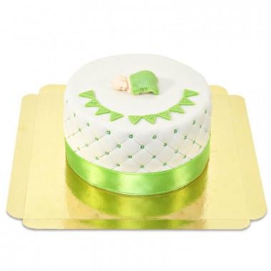 Grön babyshower tårta