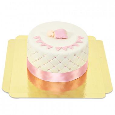 Rosa babyshower tårta