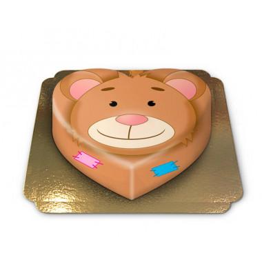 Teddybjörntårta hjärtformad