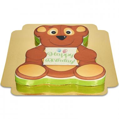 Teddybjörnsformad födelsedagstårta