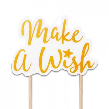 Tårtljus - make a wish, gold