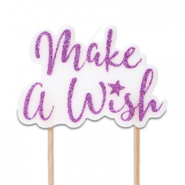 Tårtljus - make a wish, rosa