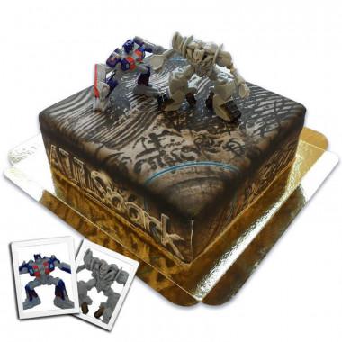 Transformersfigurer - Optimus Prime vs Megatron på AllSpark-Tårta