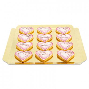 Alla hjärtans dag kakor med kärleksmotiv - rosa