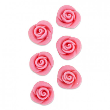 Marsipanros, rosa (6 st)