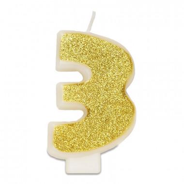 Guld sifferljus nummer 3