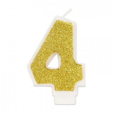 Guld sifferljus nummer 4