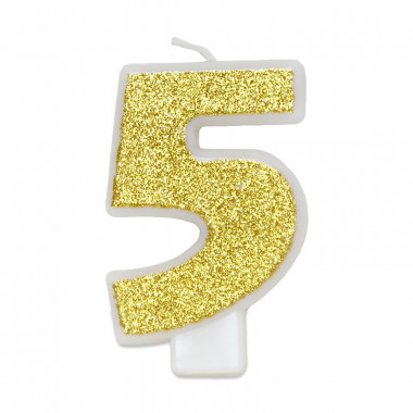 Guld sifferljus nummer 5