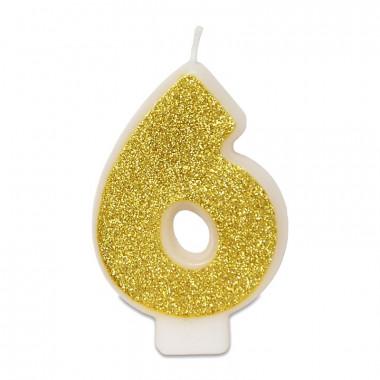 Guld sifferljus nummer 6