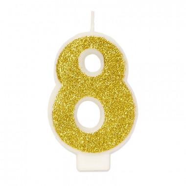 Guld sifferljus nummer 8