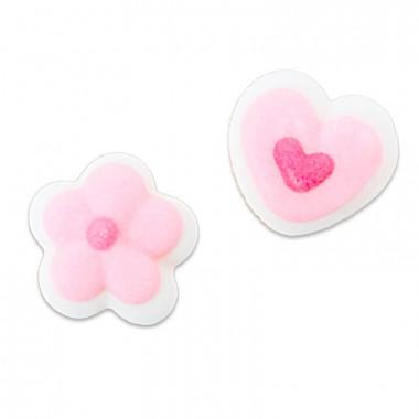 Rosa mini-hjärtan och blommor i sockerpasta (24 stycken)