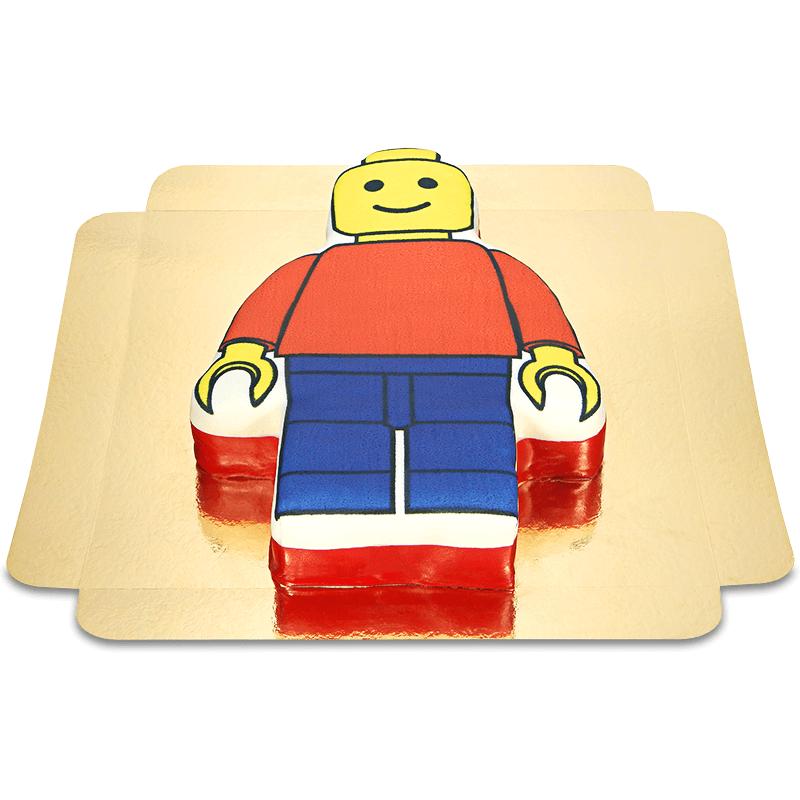 Tort w kształcie ludzika z klocków