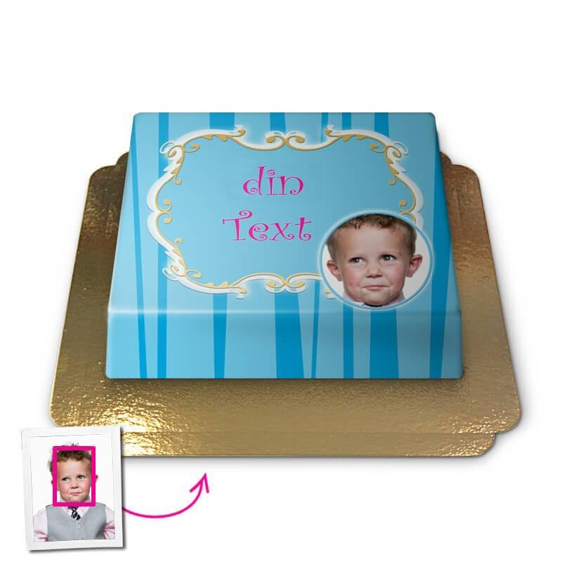 Hälsningstårta i blått, Face-Cake