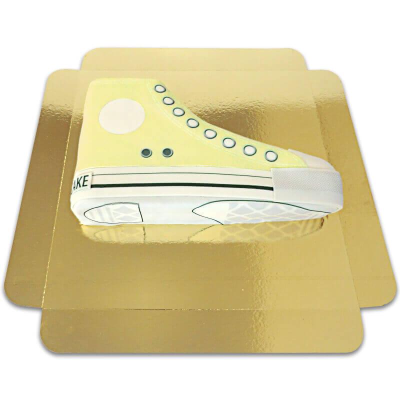 Tort w kształcie tenisówki - żółty