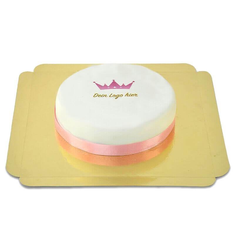 Rund logotyptårta - 18 cm