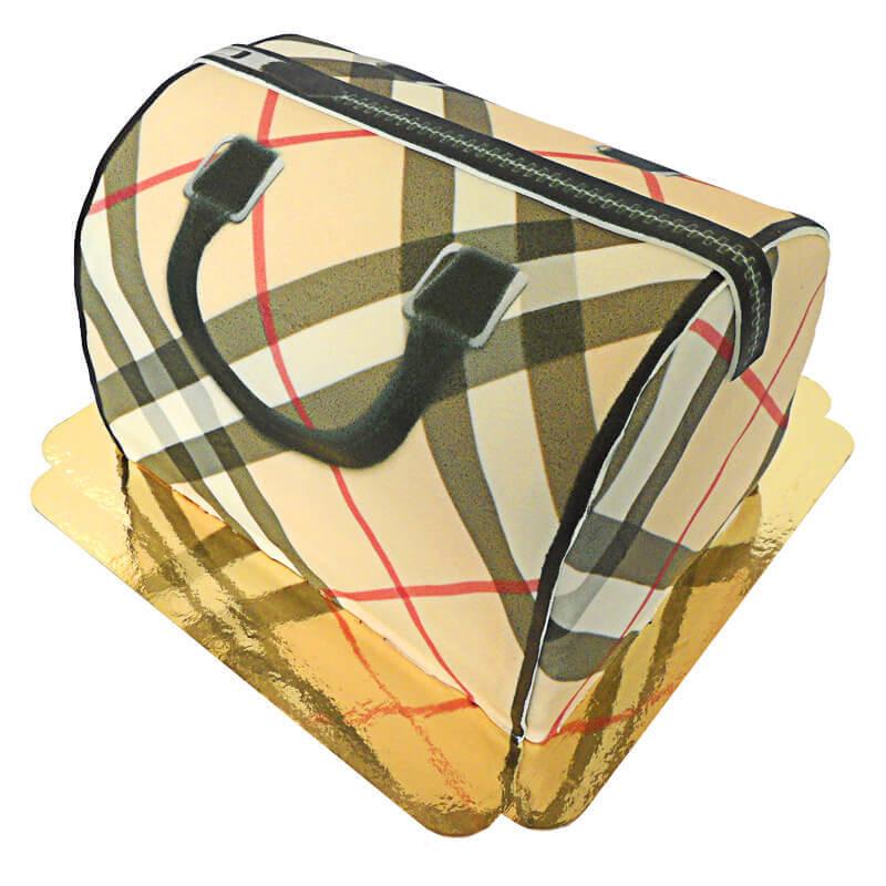 Tort w kształcie torebki w beżową kratkę