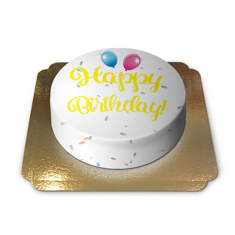 Tort z napisem Happy Birthday - żółty
