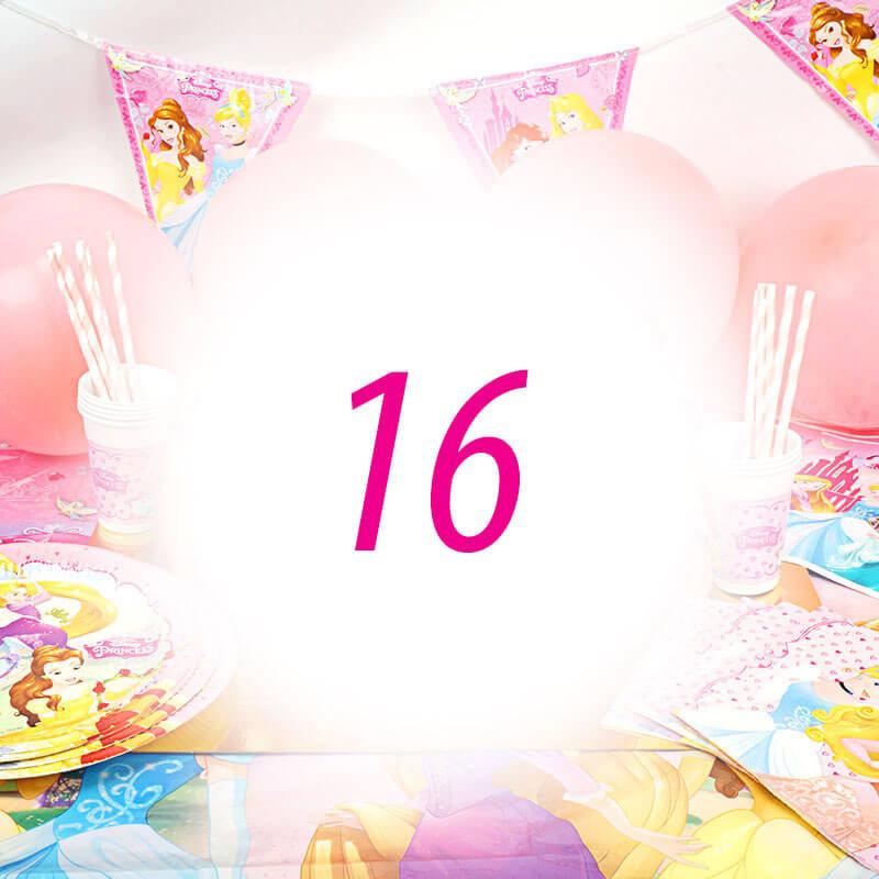 Partyset Prinessa för 16 barn - Dekorationset exkl. tårta
