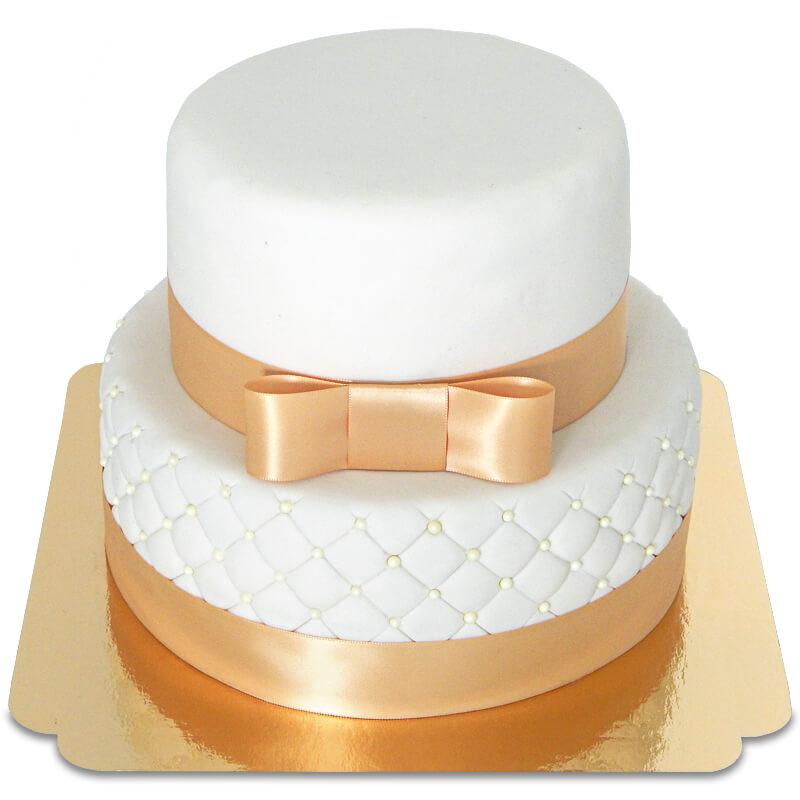 Dwupiętrowy tort weselny White Wedding