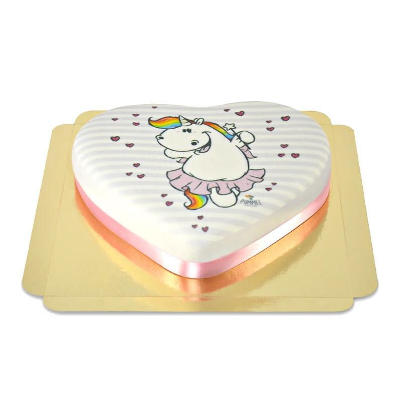 Tort z jednorożcem Pummel w kształcie serca