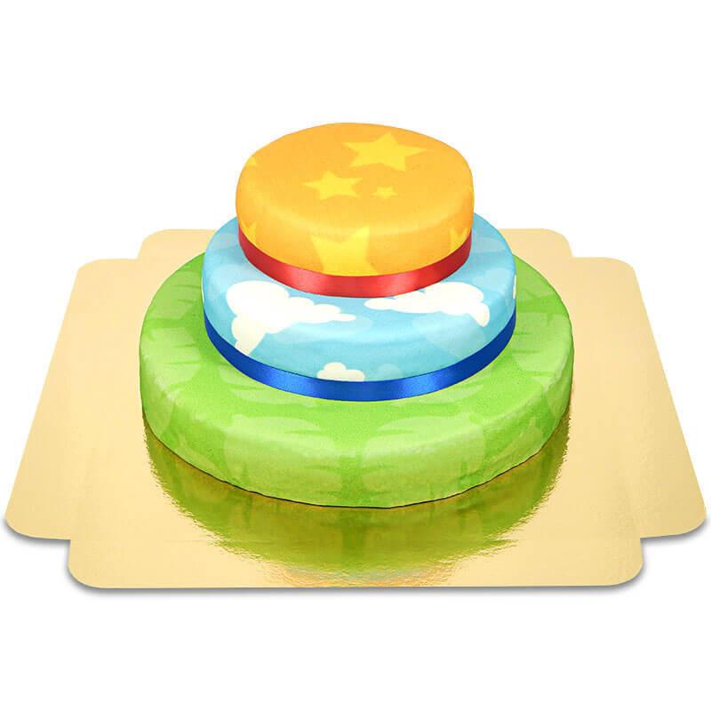 Kombination aus der Sternen-Muster-Torte, der Wolken-Muster-Torte und der Safari-Muster-Torte