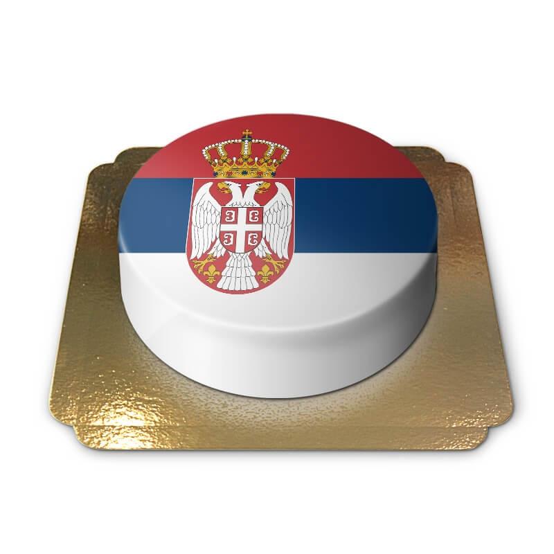 Tårta med Serbiens flagga